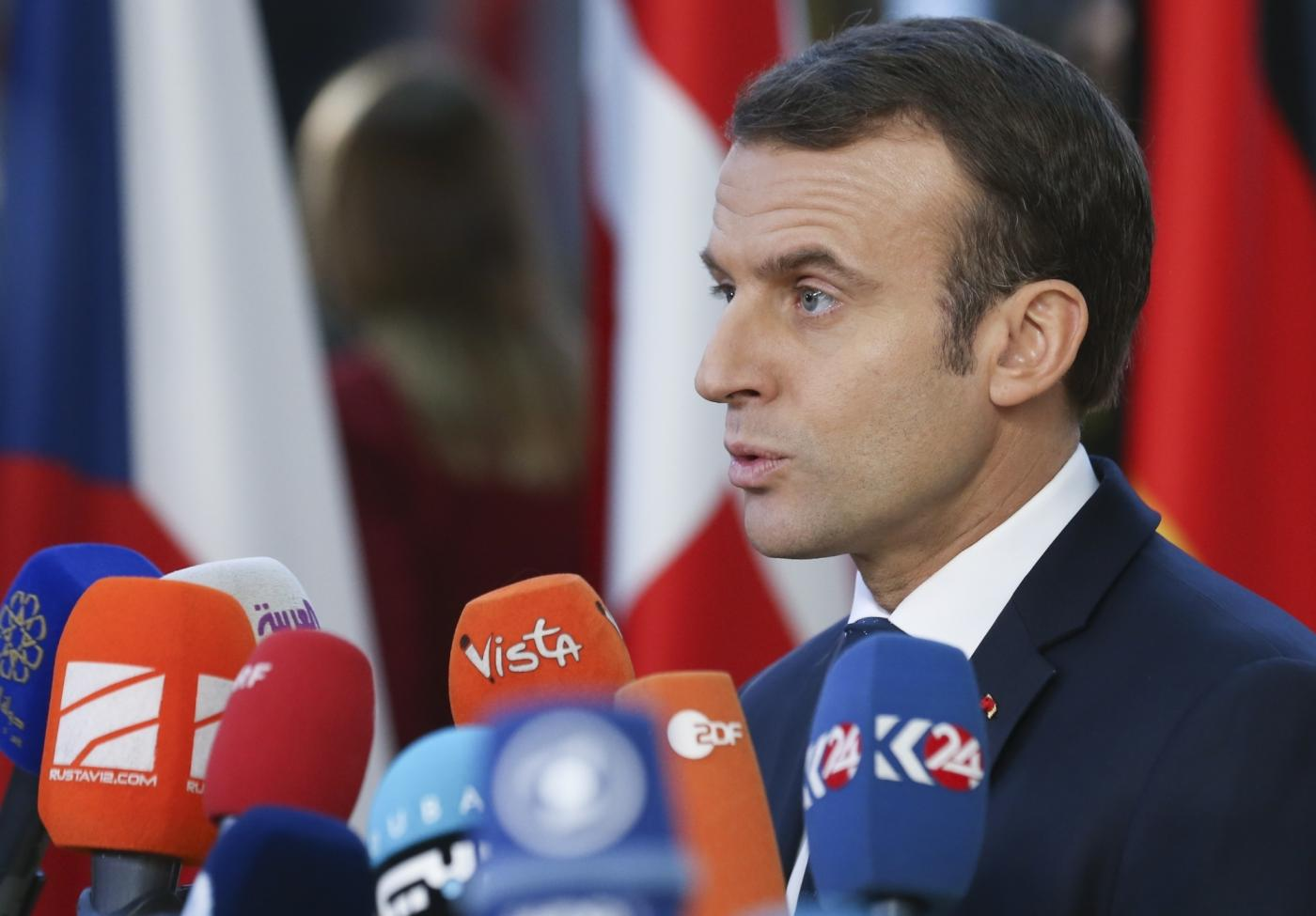 BRUSSELS, Dec. 13, 2018 (Xinhua) -- French President Emmanuel Macron speaks to media upon his arrival at a two-day EU Summit in Brussels, Belgium, Dec. 13, 2018. (Xinhua/Ye Pingfan/IANS) by .