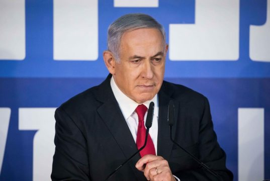 """JERUSALEM, Feb. 28, 2019 (Xinhua) -- Israeli Prime Minister Benjamin Netanyahu speaks to reporters in his Jerusalem office, on Feb. 28, 2019. Israeli Prime Minister Benjamin Netanyahu on Thursday blasted the decision by the attorney general to charge him with corruption as a left-wing """"conspiracy."""" (Xinhua/JINI/IANS) by ."""