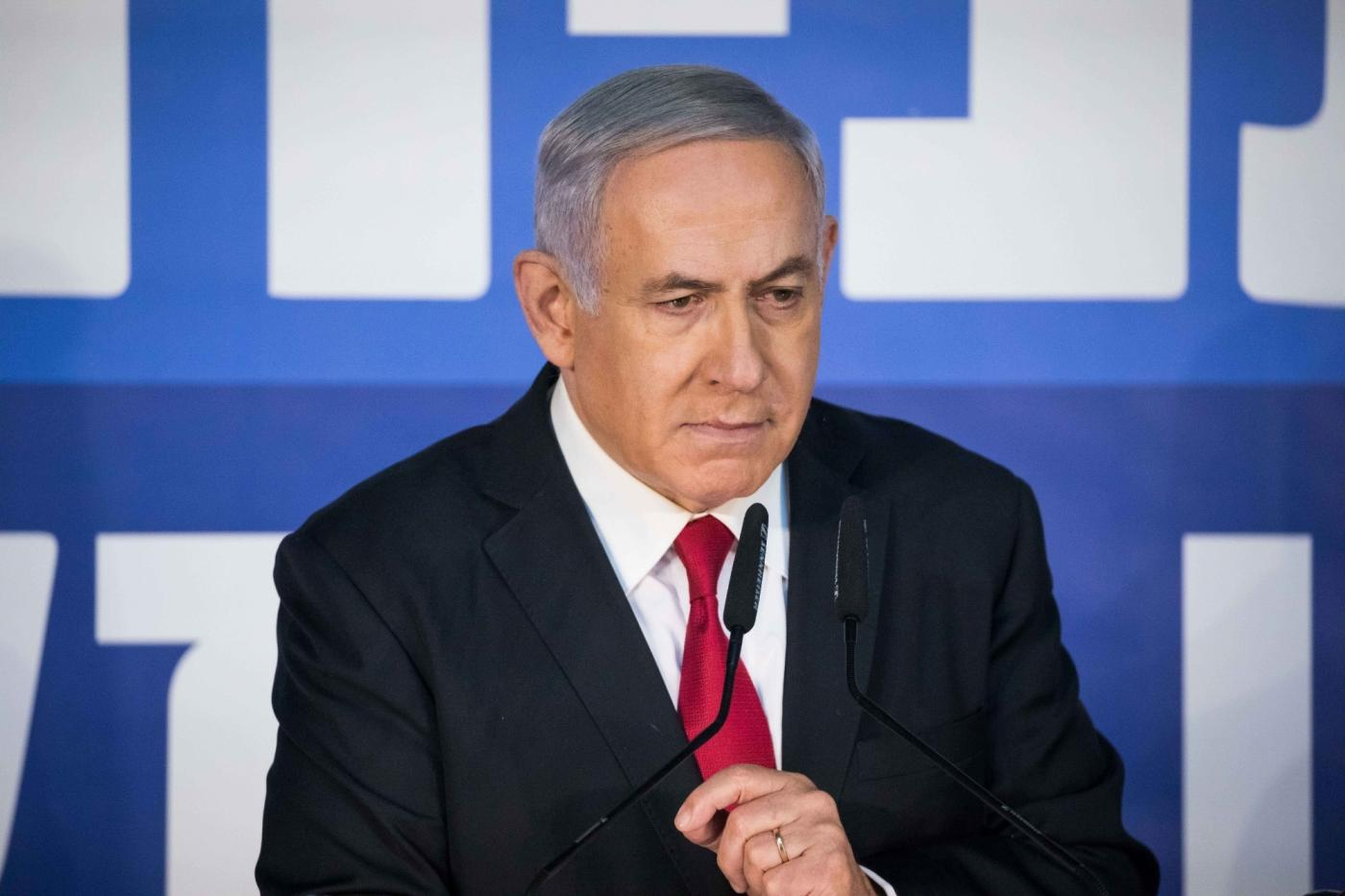"JERUSALEM, Feb. 28, 2019 (Xinhua) -- Israeli Prime Minister Benjamin Netanyahu speaks to reporters in his Jerusalem office, on Feb. 28, 2019. Israeli Prime Minister Benjamin Netanyahu on Thursday blasted the decision by the attorney general to charge him with corruption as a left-wing ""conspiracy."" (Xinhua/JINI/IANS) by ."