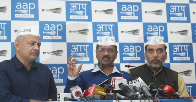 New Delhi: Delhi Chief Minister and Aam Aadmi Party (AAP) chief Arvind Kejriwal accompanied by State Cabinet Ministers and party leaders Manish Sisodia and Gopal Rai, addresses a press conference in New Delhi on March 12, 2019. (Photo: IANS) by .