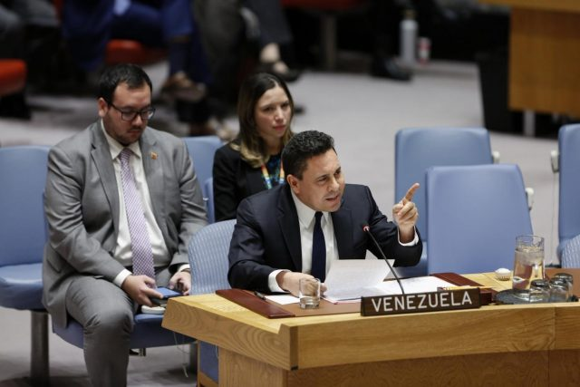 UNITED NATIONS, Feb. 28, 2019 (Xinhua) -- Samuel Moncada (front), Venezuela's Permanent Representative to the United Nations, addresses a Security Council meeting on Venezuela, at the UN headquarters in New York, Feb. 28, 2019. The UN Security Council on Thursday failed to adopt two competing draft resolutions on Venezuela, sponsored by the United States and Russia respectively. (Xinhua/Li Muzi/IANS) by .