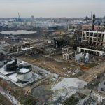 XIANGSHUI, March 22, 2019 (Xinhua) -- Aerial photo taken on March 22, 2019 shows the site of an explosion at a chemical industrial park in Xiangshui County of Yancheng, east China's Jiangsu Province. Thousands of firefighters and medical workers and hundreds of ambulances and fire trucks have joined an all-out rescue after an explosion rocked a chemical plant Thursday in an industrial park in Xiangshui County. The blast has killed at least 47 people and injured hundreds of others, 90 of them seriously. (Xinhua/Li Bo/IANS) by .