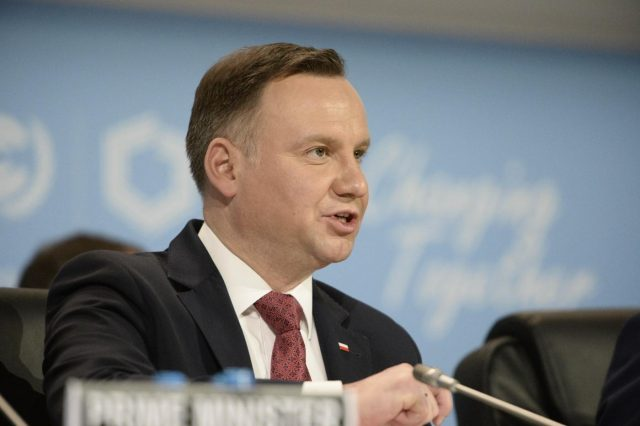 KATOWICE, Dec. 3, 2018 (Xinhua) -- Polish President Andrzej Duda addresses the UN Climate Change Conference in Katowice, Poland, Dec. 3, 2018. Delegates from nearly 200 countries began talks on Sunday on urgent actions to curb climate change three years after the landmark Paris Climate Change Agreement set a goal of keeping global warming below 2 degrees Celsius. The two-week UN Climate Change Conference, known as COP24, is held in the southern Polish city of Katowice. (Xinhua/Jaap Arriens/IANS) by .