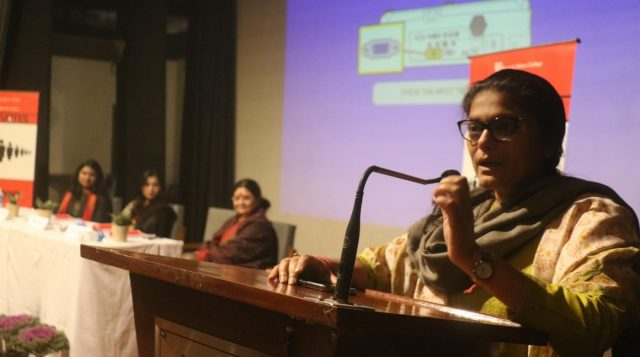 New Delhi: Congress MP Sushmita Dev addresses at a panel discussion on 'Women Leadership - Challenges and Opportunities' at Kamla Nehru Girls College in New Delhi, on Jan 30, 2019. (Photo: IANS) by .