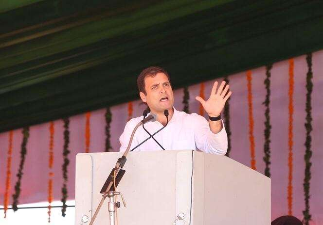 Moga: Congress President Rahul Gandhi addresses a public meeting in Moga, Punjab, on March 7, 2019. (Photo: IANS) by .