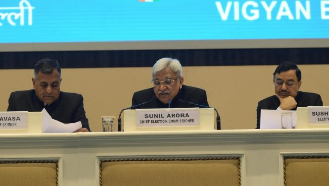 New Delhi: Chief Election Commissioner Sunil Arora accompanied by Election commissioners Ashok Lavasa and Sushil Chandra, addresses a press conference to announce the 2019 Lok Sabha election schedule, at Vigyan Bhavan in New Delhi, on March 10, 2019. (Photo: IANS) by .