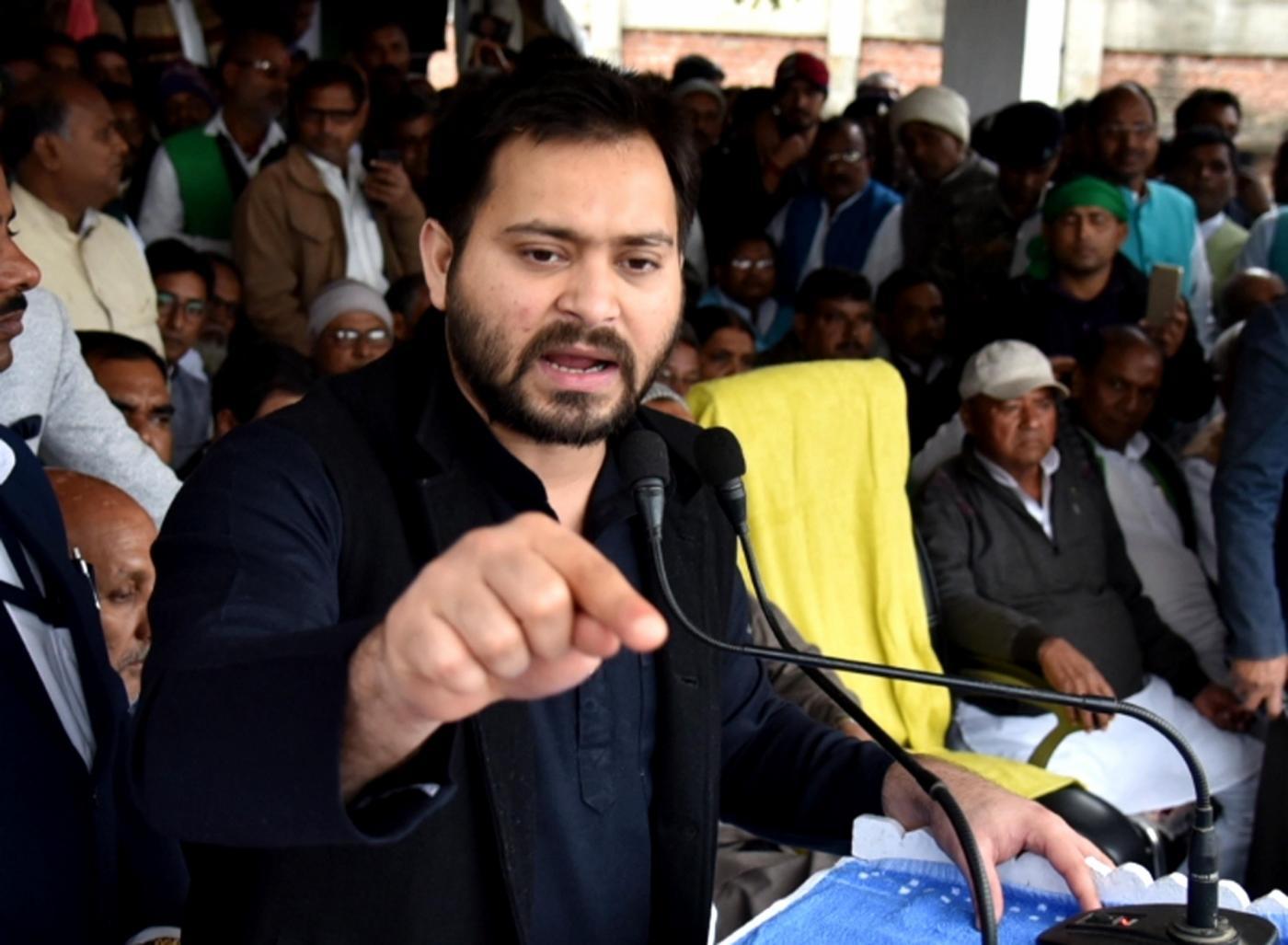 Saupul: RJD leader Tejashwi Yadav addresses a public rally in Bihar's Supaul on Feb 8, 2019. (Photo: IANS) by .