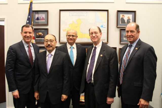 India's Foreign Secretary Vijay Gokhale met the leaders of the House of Representatives Subcommittee on Asia, the Pacific and Non-Proliferation on Monday, March 11 in Washington. Seen from left, Representative Tom Suozzi, India's Ambassador Harsh Shringla, Gokhale, Subcommittee Chairman Brad Sherman and Ranking Republican Party member Ted Yoho. (Photo: Sherman's Tweet) by .