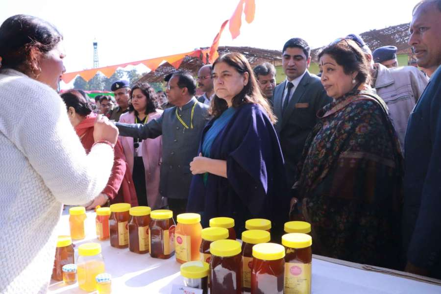 Chandigarh: Union Women and Child Development Minister Maneka Gandhi and BJP MP Kirron Kher at the 6th Women of India Organic Festival in Chandigarh, on Jan 14, 2019. (Photo: IANS) by .