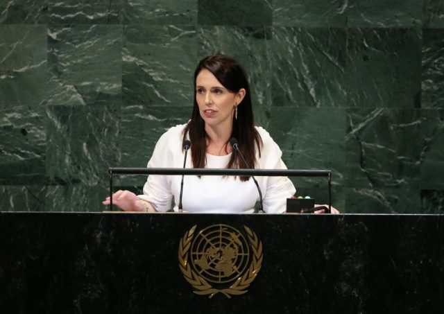 UNITED NATIONS, Sept. 28, 2018 (Xinhua) -- New Zealand Prime Minister Jacinda Ardern addresses the General Debate of the 73rd session of the United Nations General Assembly at the UN headquarters in New York on Sept. 27, 2018. (Xinhua/Qin Lang/IANS) by .