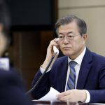 Seoul: South Korean President Moon Jae-in has a telephone conversation with Japanese Prime Minister Shinzo Abe at his office in Seoul on April 24, 2018, in this photo provided by the office. Abe expressed his hope to meet with North Korean leader Kim Jong-un to discuss ways to normalize the countries' ties, while asking Moon to help resolve the issue of Japanese citizens abducted by the communist state.(Yonhap/IANS) by .