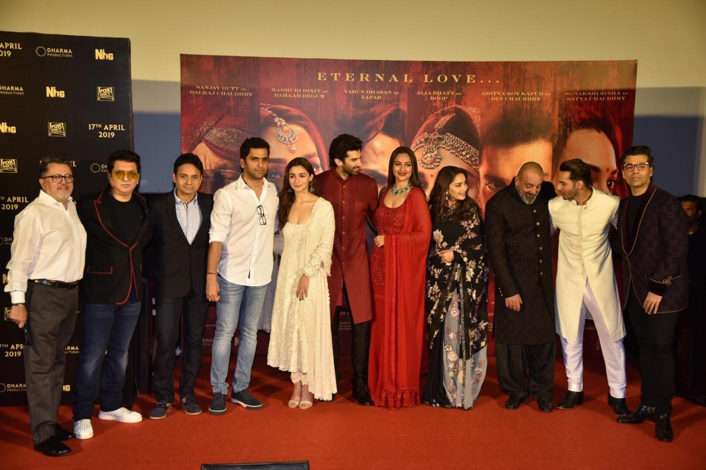 "Mumbai: Producers Sajid Nadiadwala and Karan Johar with actors Alia Bhatt, Aditya Roy Kapoor, Sonakshi Sinha, Madhuri Dixit Nene, Sanjay Dutt and Varun Dhawan at the teaser launch of their upcoming film ""Kalank"" in Mumbai, on March 12, 2019. (Photo: IANS) by ."