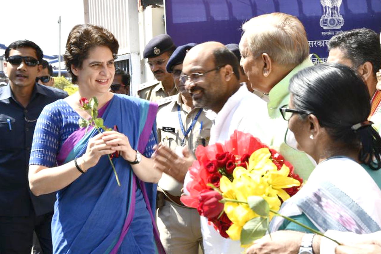 Lucknow: Congress General Secretary Priyanka Gandhi receives a warm welcome on her arrival at Lucknow airport, on March 27, 2019. (Photo: IANS) by .