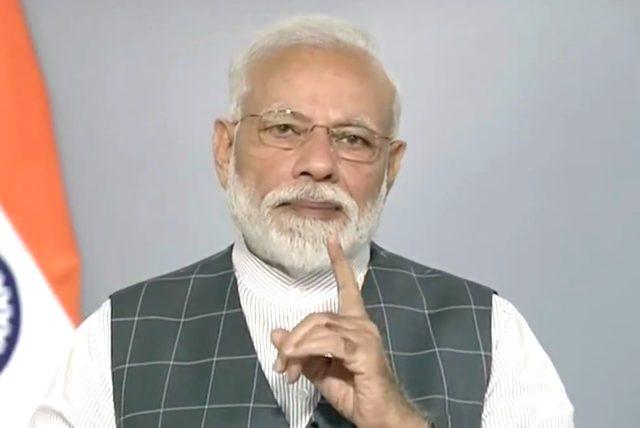 New Delhi: Prime Minister Narendra Modi addresses the nation, in New Delhi, on March 27, 2019. (Photo: IANS/BJP) by .