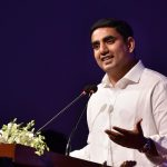 Visakhapatnam: Andhra Minister Nara Lokesh addresses during inauguration of Vizag FinTech festival in Visakhapatnam, on Oct 23, 2018. (Photo: IANS) by .