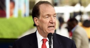 WASHINGTON, April 9, 2019 (Xinhua) -- David Malpass speaks in front of the World Bank headquarters in Washington D.C., the United States, on April 9, 2019. David Malpass on Tuesday took office as the president of the World Bank Group, and said he looks forward to undertaking the task with enthusiasm. (Xinhua/Liu Jie/IANS) by .