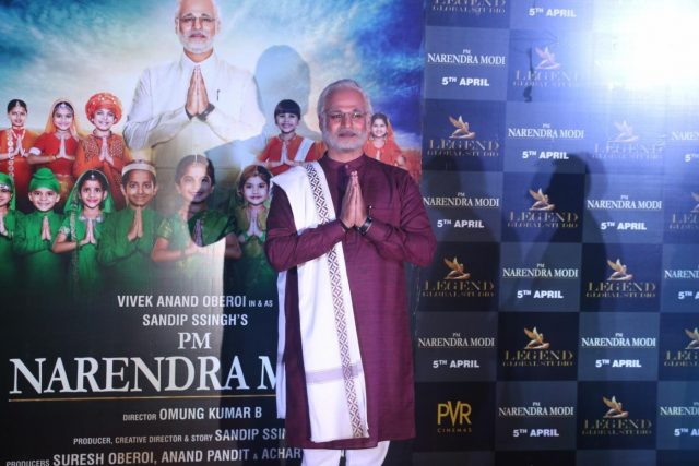 Mumbai: Actor Vivek Oberoi dressed up as Prime Minister Narendra Modi at the trailer launch of his upcoming film