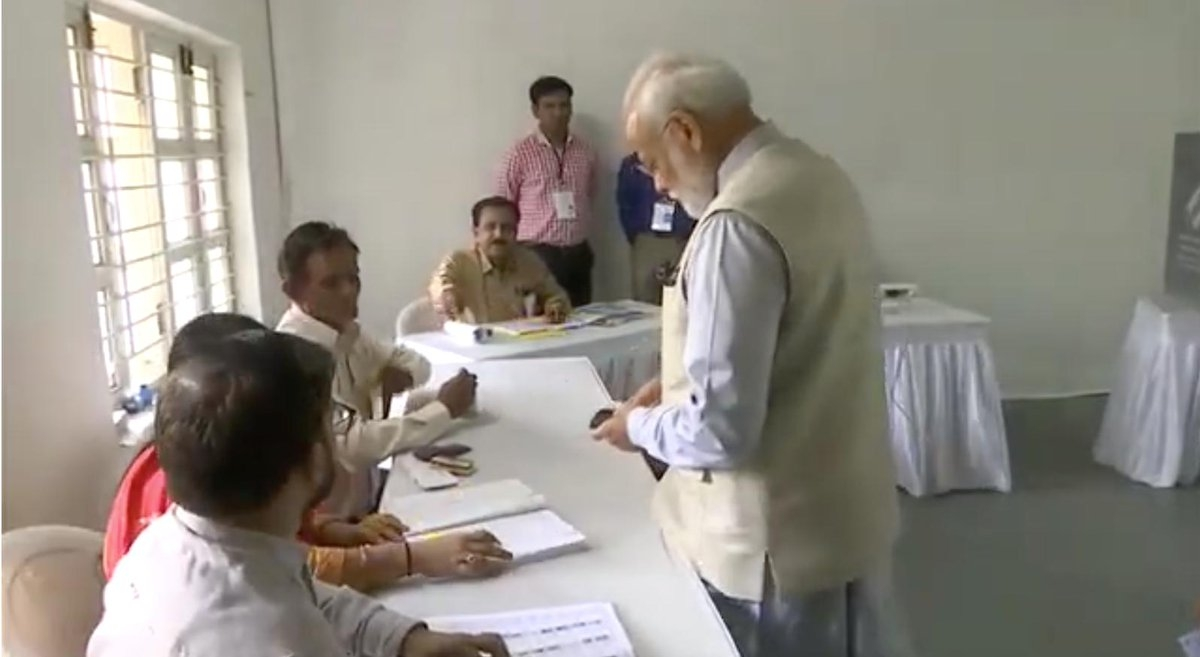 Ahmedabad: Prime Minister Narendra Modi while casting his vote in Ahmedabad, Gujarat on April 23, 2019. (Photo: PIB/IANS) by .