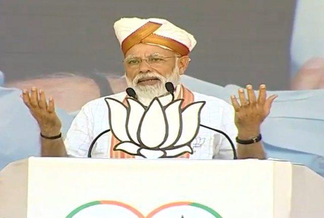 Latur: Prime Minister Narendra Modi addresses a public rally in Latur, Maharashtra on April 9, 2019. (Photo: IANS) by .