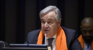 """United Nations Secretary-General Antonio Guterres speaks in November, 2018, at an event to mark International Day for the Elimination of Violence against Women on the theme """"Orange the World: HearMeToo."""" (Photo: UN/IANS) by ."""