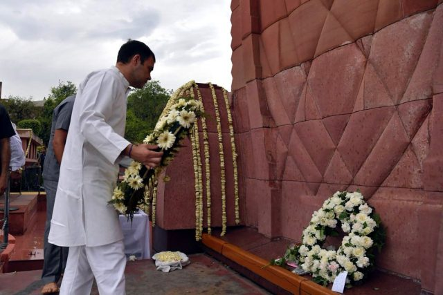Amritsar: Congress President Rahul Gandhi pays homage to martyrs of the Jallianwala Bagh massacre at Jallianwala Bagh in Amritsa, on April 13, 2019. (Photo: IANS) by .