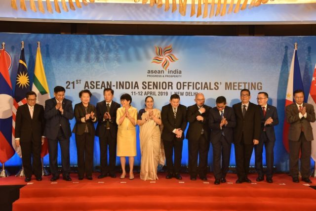 New Delhi: Ministry of External Affairs Secretary (East) Vijay Thakur Singh with the representatives of other countries at the 21st ASEAN-India Senior Officials' Meeting in New Delhi, on April 12, 2019. (Photo: IANS/MEA) by .
