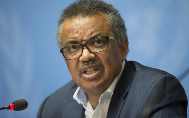 GENEVA, Aug. 14, 2018 (Xinhua) -- Director-General of the World Health Organization Tedros Adhanom Ghebreyesus attends a press conference in Geneva, Switzerland, Aug. 14, 2018. Tedros Adhanom Ghebreyesus said Tuesday that he's even more worried about the latest Ebola outbreak in the Democratic Republic of Congo (DR Congo) after his recent visit to the country, mainly because of the intense security challenge in the virus-hit areas. (Xinhua/Xu Jinquan/IANS) by .