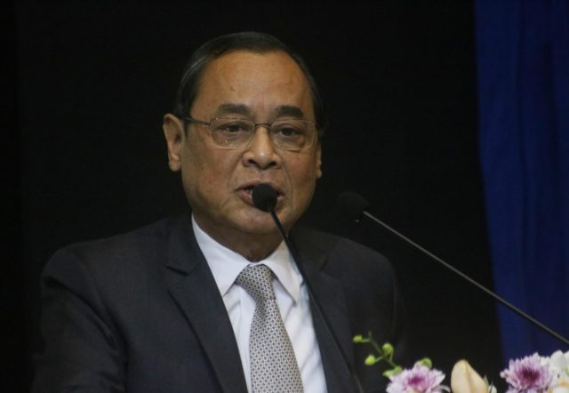 New Delhi: Chief Justice of India (CJI) Ranjan Gogoi addresses at the launch of the book