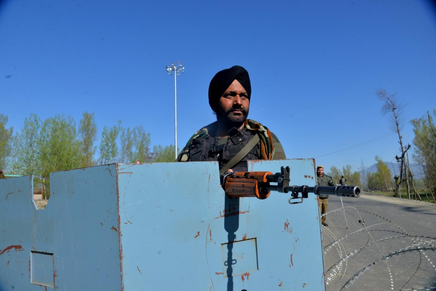 Pulwama: Security personnel during a gunfight with militants in Jammu and Kashmir's Pulwama district on April 7, 2019. (Photo: IANS) by .