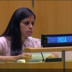 Eenam Gambhir, a counsellor at India's UN Mission exercises the right of reply to Pakistan Foreign Minister Makhdoom Shah Mahmood Qureshi's speech at the United Nations General Assembly on Saturday, Sept. 29, 2018. (Photo: UN videograb) by .