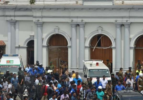 Colombo, April 21, 2019 (Xinhua) -- People gathered outside the Church of St. Anthony where the explosion occurred in Colombo, Sri Lanka, April 21, 2019. At least 50 people were killed and more than 100 others injured in multiple church and hotel blasts in Sri Lanka, police said on Sunday. (Xinhua/Tang Lu/IANS) by .
