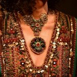 "New Delhi: A model showcases ""Kashgaar Bazaar"" collection, a creation by fashion designer Sabyasachi Mukherjee on the 20th year celebrations of his brand ""Sabyasachi"", in New Delhi, on April 6, 2019. (Photo: IANS) by ."