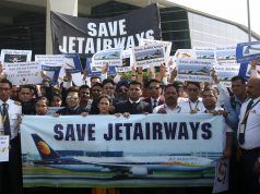 New Delhi: Jet Airways employees stage a demonstration against delay in disbursement of their salaries at Delhi Airport's Terminal 3 (T3) on April 13, 2019. (Photo: IANS) by .