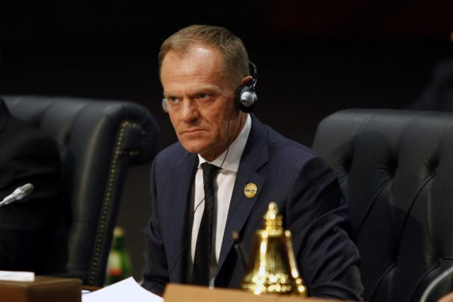 SHARM EL-SHEIKH (EGYPT), Feb. 24, 2019 (Xinhua) -- European Council President Donald Tusk attends the first League of Arab States (LAS)-EU Summit in Sharm el-Sheikh, Egypt, on Feb. 24, 2019. The first League of LAS-EU Summit started on Sunday in Egypt's Red Sea resort city of Sharm el-Sheikh, with the participation of more than 50 European and Arab countries. (Xinhua/Ahmed Gomaa/IANS) by .