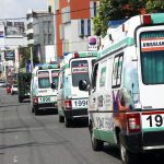 Colombo, April 22, 2019 (Xinhua) -- Photo shows ambulances on the street after blasts in Colombo, Sri Lanka, April 21, 2019. The death toll from the multiple blasts that ripped through Sri Lanka on Sunday rose to 228 while 450 others were injured, local media quoting hospital sources said. (Xinhua/Wang Shen/IANS) by .