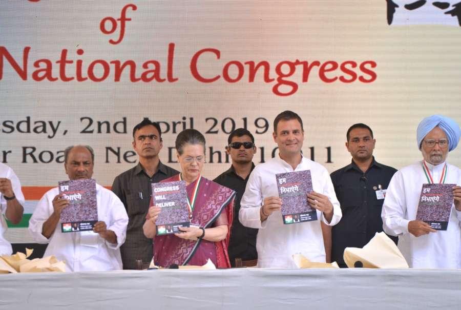 New Delhi: Congress leaders A. K. Antony, Sonia Gandhi, Rahul Gandhi, Manmohan Singh and P. Chidambaram release the party's manifesto for the 2019 Lok Sabha polls, in New Delhi, on April 2, 2019. (Photo: IANS) by .