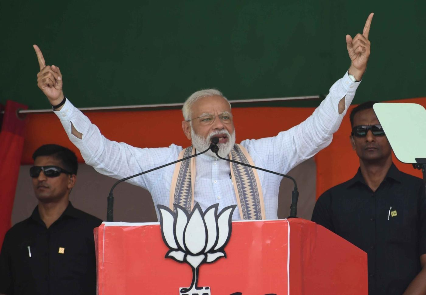 Muzaffarpur: Prime Minister Narendra Modi addresses during a BJP rally in Bihar's Muzaffarpur on April 30, 2019. (Photo: IANS) by .