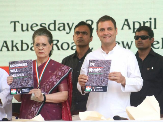 New Delhi: Congress leaders Sonia Gandhi, Rahul Gandhi and Manmohan Singh release the party's election manifesto for the 2019 Lok Sabha polls in New Delhi, on April 2, 2019. (Photo: IANS) by .