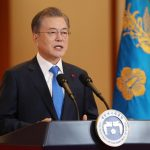 SEOUL, Jan. 10, 2019 (Xinhua) -- South Korean President Moon Jae-in delivers a speech before his New Year press conference at Blue House in Seoul, South Korea, Jan. 10, 2019. China has played a positive role in denuclearizing the Korean Peninsula and improving inter-Korean relations, Moon said in his New Year press conference here on Thursday. (Xinhua/NEWSIS/IANS) by .