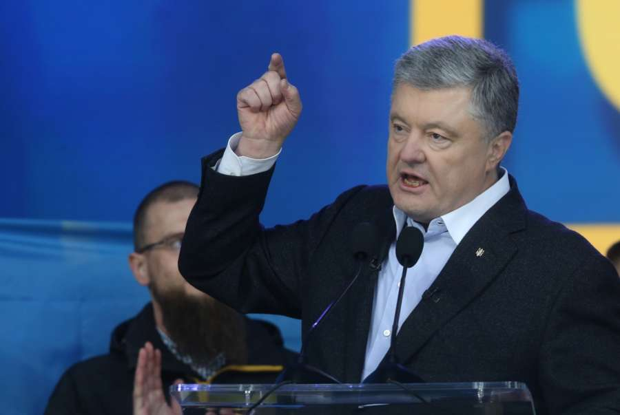KIEV, April 20, 2019 (Xinhua) -- Ukraine's incumbent President Petro Poroshenko speaks during a debate at the Olympic stadium in Kiev, Ukraine, April 19, 2019. Ukraine's incumbent President and presidential candidate Petro Poroshenko and presidential candidate and actor Volodymyr Zelensky on Friday held a debate ahead of the second round of the country's presidential election. (Xinhua/Sergey/IANS) by .