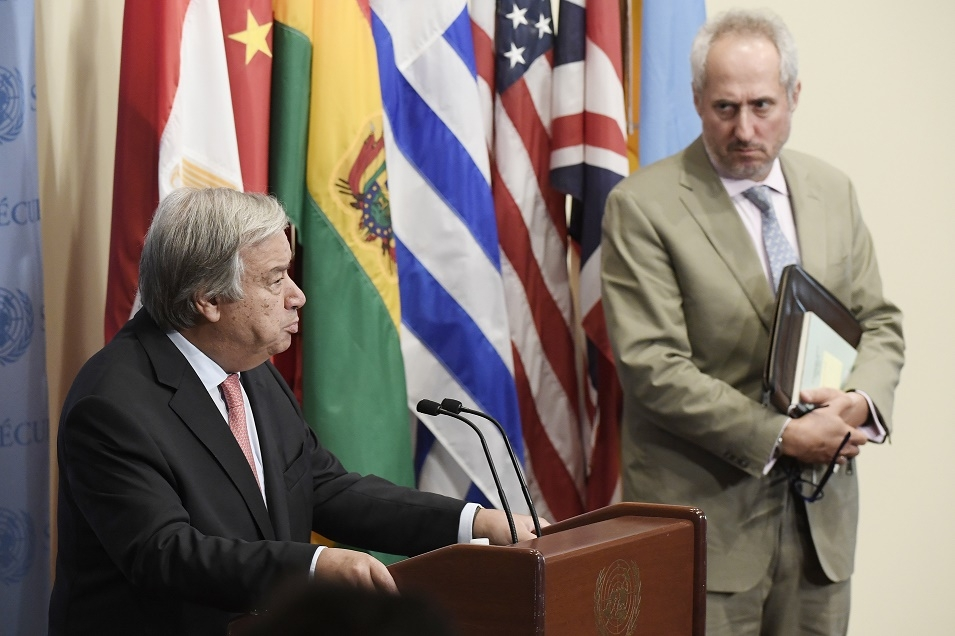 United Nations Secretary-General Antonio Guterres, left, with his Spokesperson Stephane Dujarric. (Photo: UN/IANS) by .