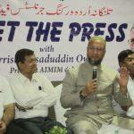 Hyderabad: All India Majlis-e-Ittehadul Muslimeen (AIMIM) chief Asaduddin Owaisi talks to media persons in Hyderabad, on April 9, 2019. (Photo: IANS) by .