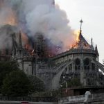 Paris , April 16, 2019 (Xinhua) -- The Notre Dame Cathedral is on fire in central Paris, capital of France, on April 15, 2019. The fire at the Notre Dame on Monday afternoon destroyed the spire of the 850-year-old historical cathedral. (Xinhua/Alexandre Karmen/IANS) by .
