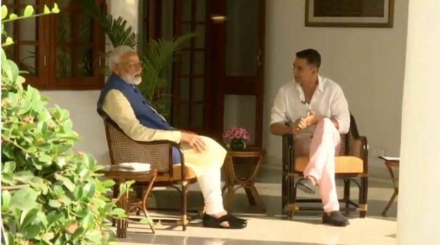 New Delhi: Prime Minister Narendra Modi during a conversation with actor Akshay Kumar, in New Delhi, on April 24, 2019. (Photo: IANS) by .