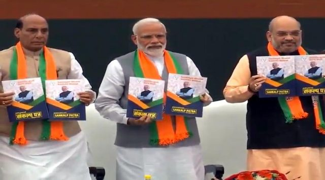 New Delhi: BJP leaders - Prime Minister Narendra Modi, Union Minister Rajnath Singh and party chief Amit Shah release BJP's election manifesto for the 2019 Lok Sabha polls, in New Delhi, on April 8, 2019. (Photo: IANS) by .