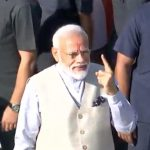 Ahmedabad: Prime Minister Narendra Modi shows his inked finger after casting his vote in Ahmedabad, Gujarat on April 23, 2019. (Photo: PIB/IANS) by .