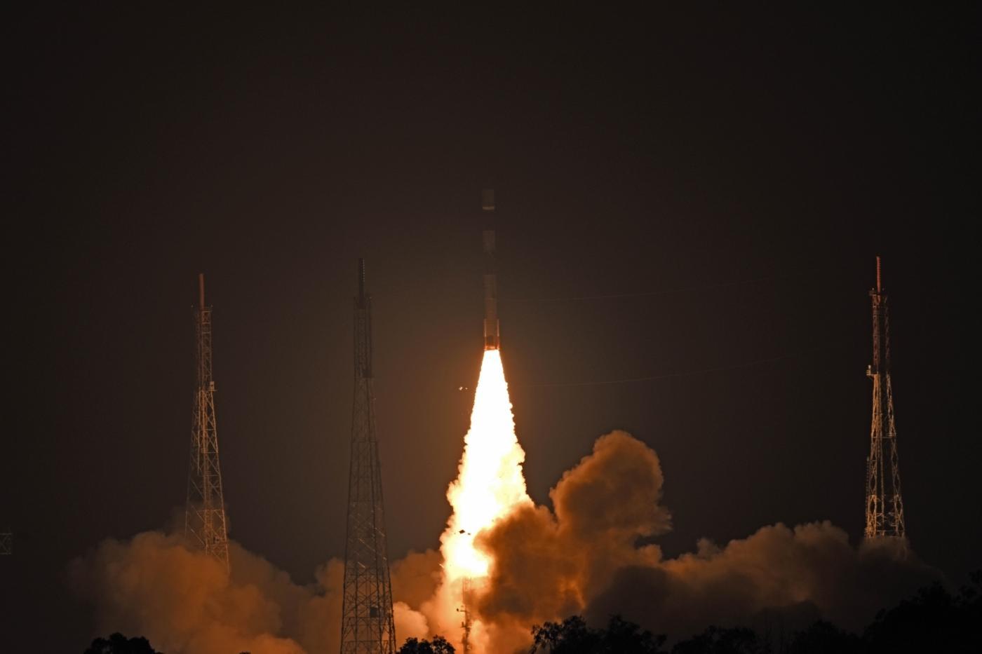 "Sriharikota: Polar Satellite Launch Vehicle (PSLV) 44 carrying Defence Research and Development Organisation's (DRDO) ""Microsat R"" and ""Kalamsat"" lifts off from Sriharikota, Andhra Pradesh on Jan 24, 2019. (Photo: IANS/ISRO) by ."