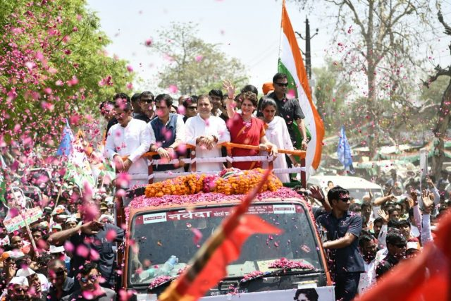 Amethi: Congress President Rahul Gandhi accompanied by party General Secretary (Uttar Pradesh East) Priyanka Gandhi Vadra, brother-in-law Robert Vadra, nephew Rehan and niece Miraya, on his way to file nomination from Uttar Pradesh's Amethi Lok Sabha constituency ahead of the 2019 Lok Sabha polls, in Amethi, Uttar Pradesh, on April 10, 2019. (Photo: IANS) by .