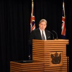 WELLINGTON, Oct. 19, 2017 (Xinhua) -- Winston Peters, leader of New Zealand First party, addresses media in Wellington, New Zealand, on Oct. 19, 2017. The New Zealand First party has decided to side with the Labor party to form the coalition government, NZ First party leader Winston Peters announced here Thursday. (Xinhua/Su Liang/IANS) by .