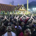 "Pathanamthitta: Scores of believers from different parts of the country visit Sabarimala Temple in Kerala's Pathanamthitta to witness ""Makaravilakku Mahotsavam 2019 - the ritualistic 'deeparadhana' (aarthi)"", on Jan 14, 2019. (Photo: IANS) by ."